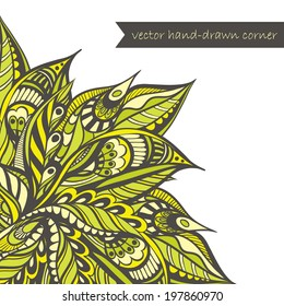Vector decorative corner, floral motive
