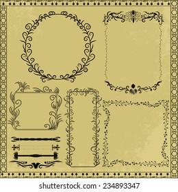 Vector decorative design elements and frames