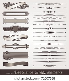 Vector decorative design elements: page decor, frames, banners & ribbons