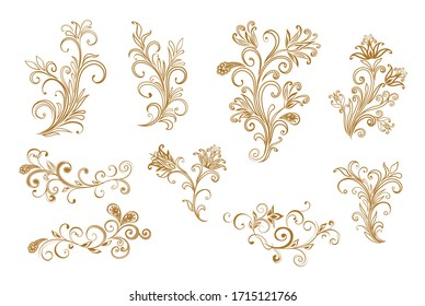 Vector decorative design Paisley, floral elements. Isolated floral design elements in ethnic Oriental style.
