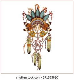 Vector decorative dream catcher in graphic style with owl skull