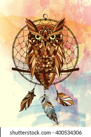 Vector decorative dream catcher in graphic style with owl on the watercolor background.