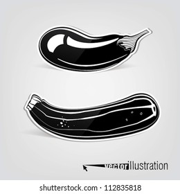 Vector decorative eggplant and courgette