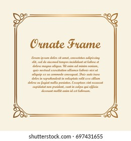 Vector decorative element for design. Frame template with place for text. Fine floral ornamental border. Lace decor. Elegant art for birthday and greeting card, wedding invitation. Ornate corners.