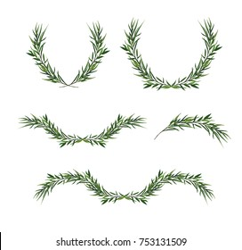 Vector decorative element set. Eucalyptus round Green leaf Wreath, greenery branches, winter garland, border, frame, elegant watercolor isolated, editable illustration. Christmas greeting card objects