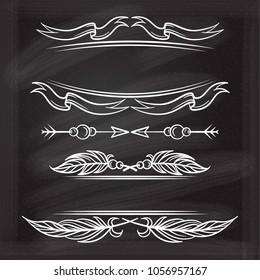 Vector decorative elements set on a chalkboard background. Vinrage and boho style.