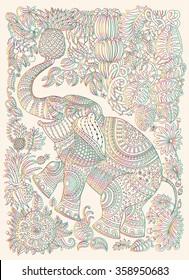 Vector decorative fantasy stylized ornate elephant silhouette. Zen tangle fantastic flowers, butterfly, leaves. Rainbow contour thin line ornaments on a beige background. T-shirt print. Batik paint