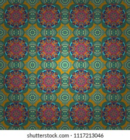 Vector decorative floral embroidery seamless pattern, ornament for textile, kerchief, pillow or handbag decor. Bohemian style background in yellow, green and blue colors.