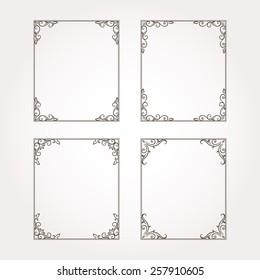 Vector decorative floral frames. Set of page decorations
