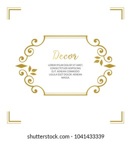 Vector decorative frame. Elegant gold element for design template, place for text.Floral border. Lace decor for birthday and greeting card, wedding invitation.