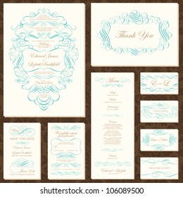 Vector Decorative Frame and Ornament Set. Easy to edit. Perfect for invitations or announcements. Seamless pattern included.