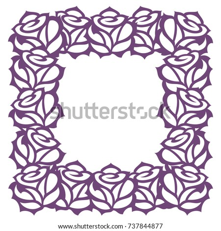 vector decorative frame roses template laser stock vector royalty