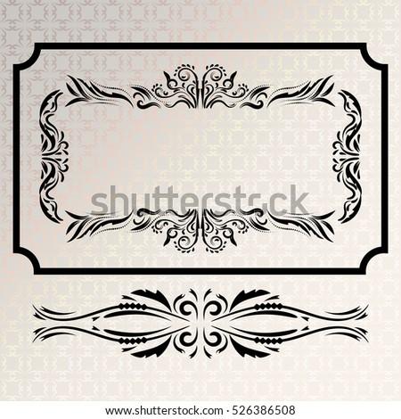 bfed3914550 Vector decorative frames retro vector black frame on Gray background.  design element