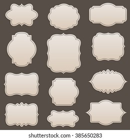 Vector decorative frames set, vintage collection. Cute retro style set for diary, journal, labels