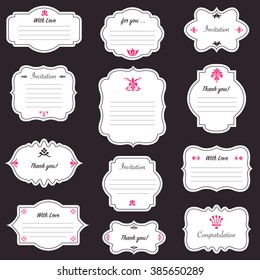 Vector decorative frames set, vintage collection. Cute retro style for diary, journal, labels