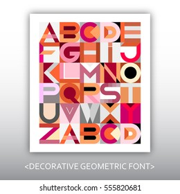 Vector decorative geometric font design. Abstract art vector illustration featuring the letters of the alphabet.