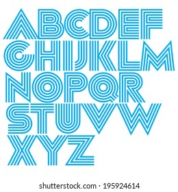 Vector decorative geometric font. Modern type made of concentric lines