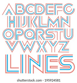 Vector decorative geometric font. Soft colored type.