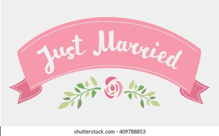 Vector decorative hand drawn lettering of text Just Married and pink ribbon isolated on white background