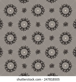 Vector decorative image with black rounded sunflowers and smaller blossoms on symmetric dashed line background.