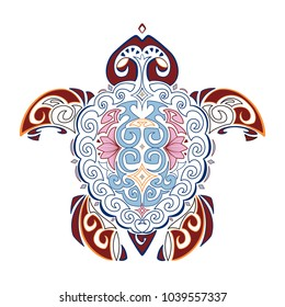 Vector decorative image of the turtle in the style of the Hawaiian national pattern. Hawaiian tattoo. Isolated.