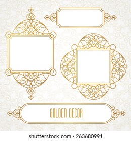 Vector decorative line art frames for design template. Elegant element for design in Eastern style, place for text. Golden outline floral border. Lace illustration for invitations and greeting cards.