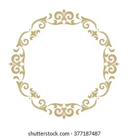 Vector decorative line art frames for design template. Elegant element for design in Eastern style, place for text. Golden outline floral border. Lace illustration for invitations and greeting cards