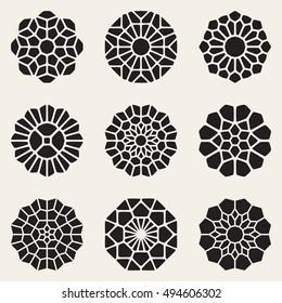 Vector Decorative Mandala Ornaments Illustration. Abstract Geometric Background Design