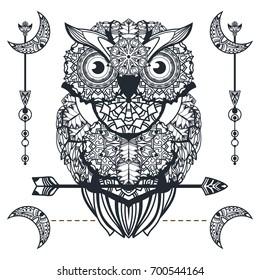 Vector decorative owl with arrow. Zentangle art. Ethnic illustration for tattoo design, antistress coloring book, poster and print. Bohemian tribal style.