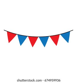 Vector decorative party pennants. Celebrate flags. Red and blue garland. Birthday decoration. Hanging colored flags.
