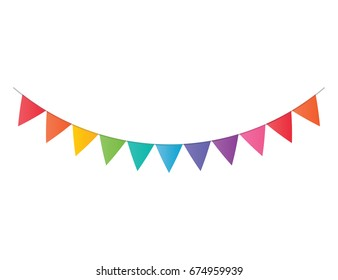 Vector decorative party pennants. Celebrate flags. Rainbow garland. Birthday decoration. Hanging colored flags.