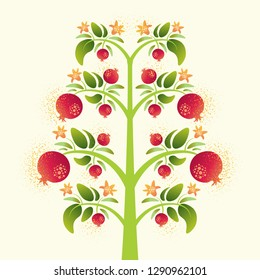 Vector decorative pomegranate tree with leaves on light background