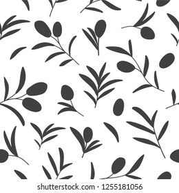 Vector decorative seamless pattern with olive branches on white. Background design for olive oil, natural cosmetics, wrapping paper, fabric.