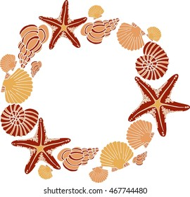 Vector decorative seashell frame with hand drawn shells