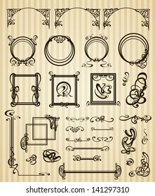 Vector decorative set items and scope in modern style