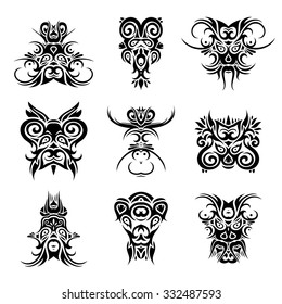 334d46a40 Vector Decorative Shaman Masks. Isolated Fictitious Creature On White  Background. Set of Tribal Tattoo