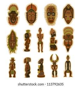 Vector Decorative Tribal Totem African Masks