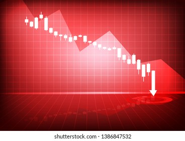 Vector : Decreasing business graph on red background