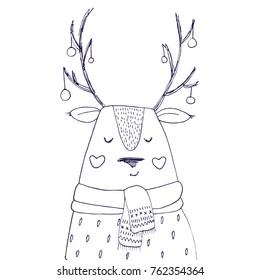 Vector deer animal. Hand drawn Christmas reindeer sketch