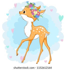Vector deer in a flower wreath on background with hearts can be used for baby t-shirt design, fashion print, cards, design element for children's clothes. Cute baby animal