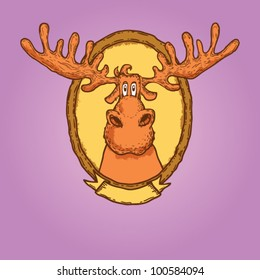 vector deer head isolated on background