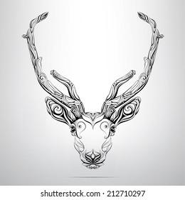 Vector deer head in the ornament