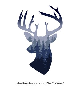 Vector deer head silhouette with misty forest in it - wild nature