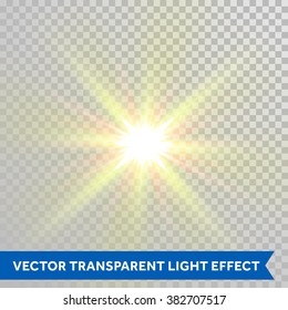 Vector defocused shining sun ray of light. Twinkling sunlight spark. Bright glaring light flash with lens flare optical effect isolated on transparent background