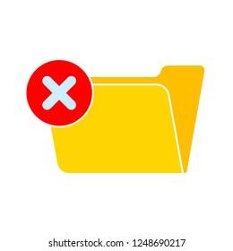 vector delete folder icon. Flat illustration of delete or error folder. office data storage isolated on white background. close computer information folder sign symbol