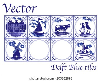 Vector Delft Blue Dutch tiles with folk pictures
