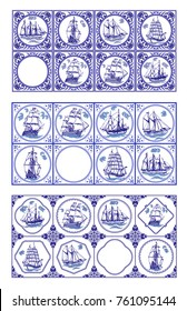 Vector Delft Blue Dutch tiles with sailships