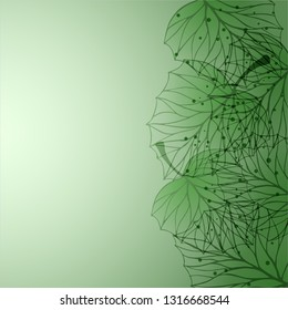 Vector delicate background with transparent leaves