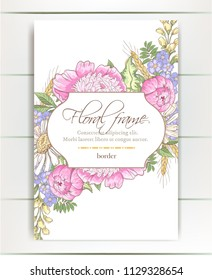 Vector delicate invitation with peony flowers, chamomile,bluebells for wedding, marriage, bridal, birthday, Valentine's day. Floral border with sketch colorful blossoms. Frame with hand drawn flowers