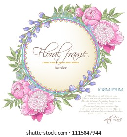 Vector delicate invitation with peony flowers,bluebells,eucaliptus for wedding, marriage, bridal, birthday, Valentine's day. Floral border with sketch colorful blossoms. Frame with hand drawn flowers
